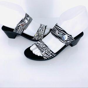 Onex Sonic Mid Heel Zebra Print Sandal Size 6